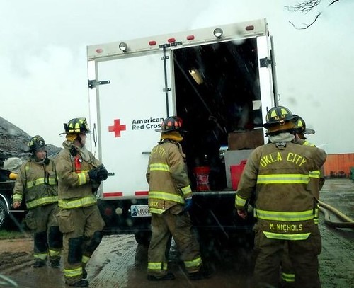 OKC Hay Fire - Cold and Rain Doesn't Stop Red Cross Volunteers