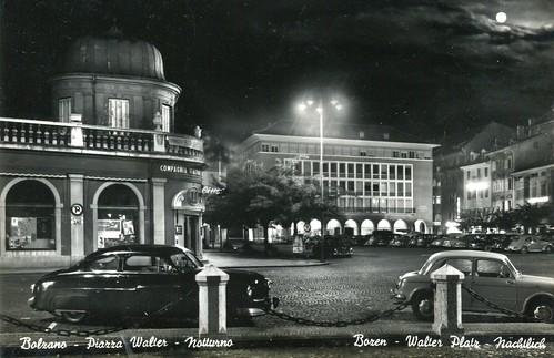 postcard - bolzano - piazza walter - notturno - 1959