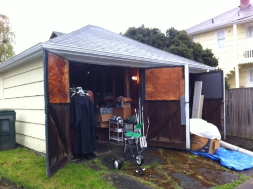 Garage sale in alley