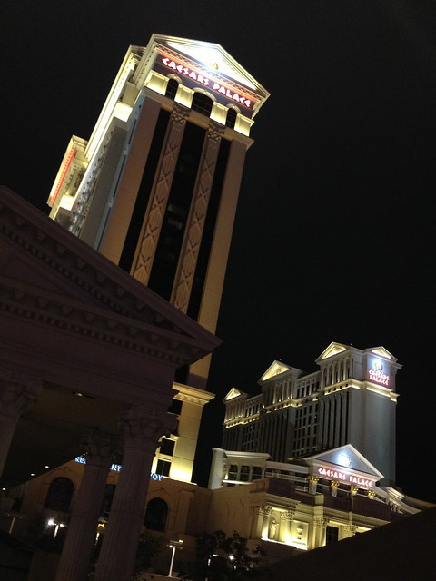 Caesars Palace at night