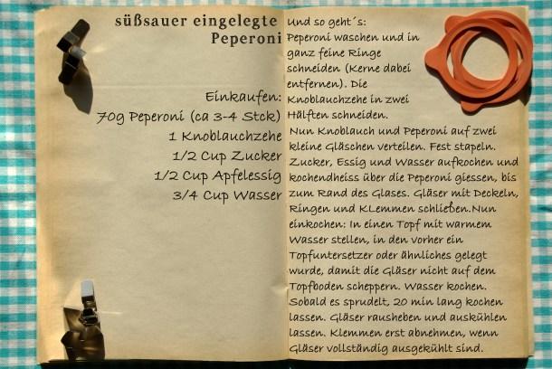 Einkaufszettel eingelegte Peperoni by Glasgeflüster