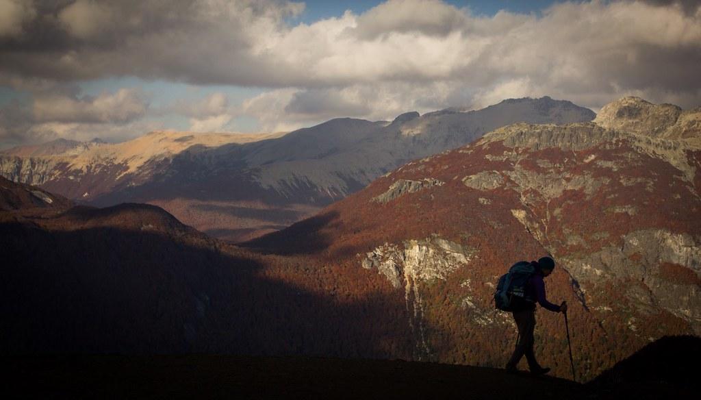 Climbing up towards Refugio Otto Meiling. PN Nahuel Huapi. Cerro Tronador. Patagonia. Argentina.
