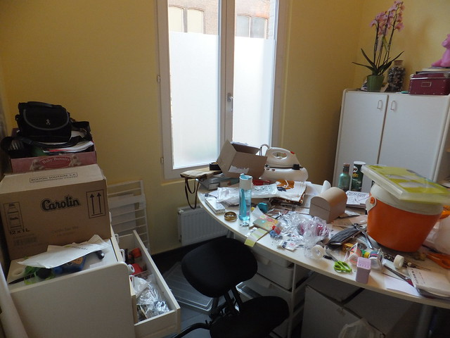 sewing room messy