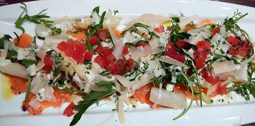 White Asparagus & Salmon Salad in the Cambrinus