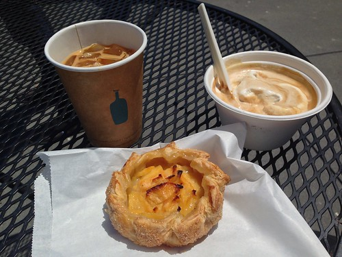 Peach tart from Frog Hollow Farm with Blue Bottle affogato and New Orleans-style iced coffee.
