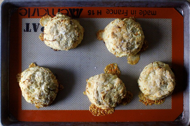 caramelized onion and gruyere biscuit frico!