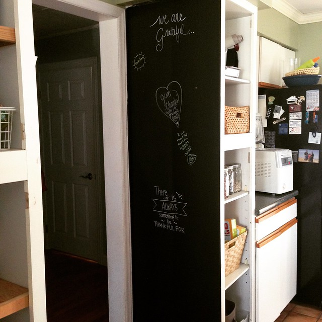 Gratitude board in the kitchen