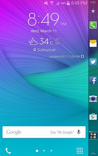 Homescreen ของ Samsung Galaxy Note Edge