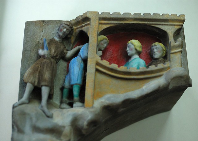 The 3D print, hand coloured to reflect the original appearance of the stonework