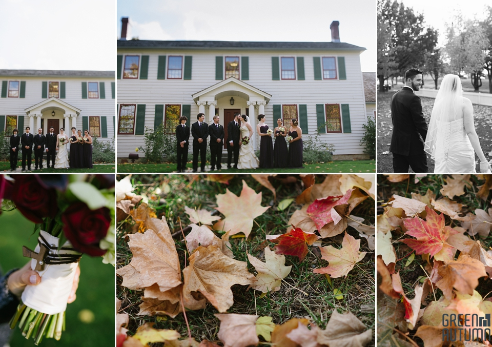 Fall Stoney Creek Battlefield House Wedding Party Portraits