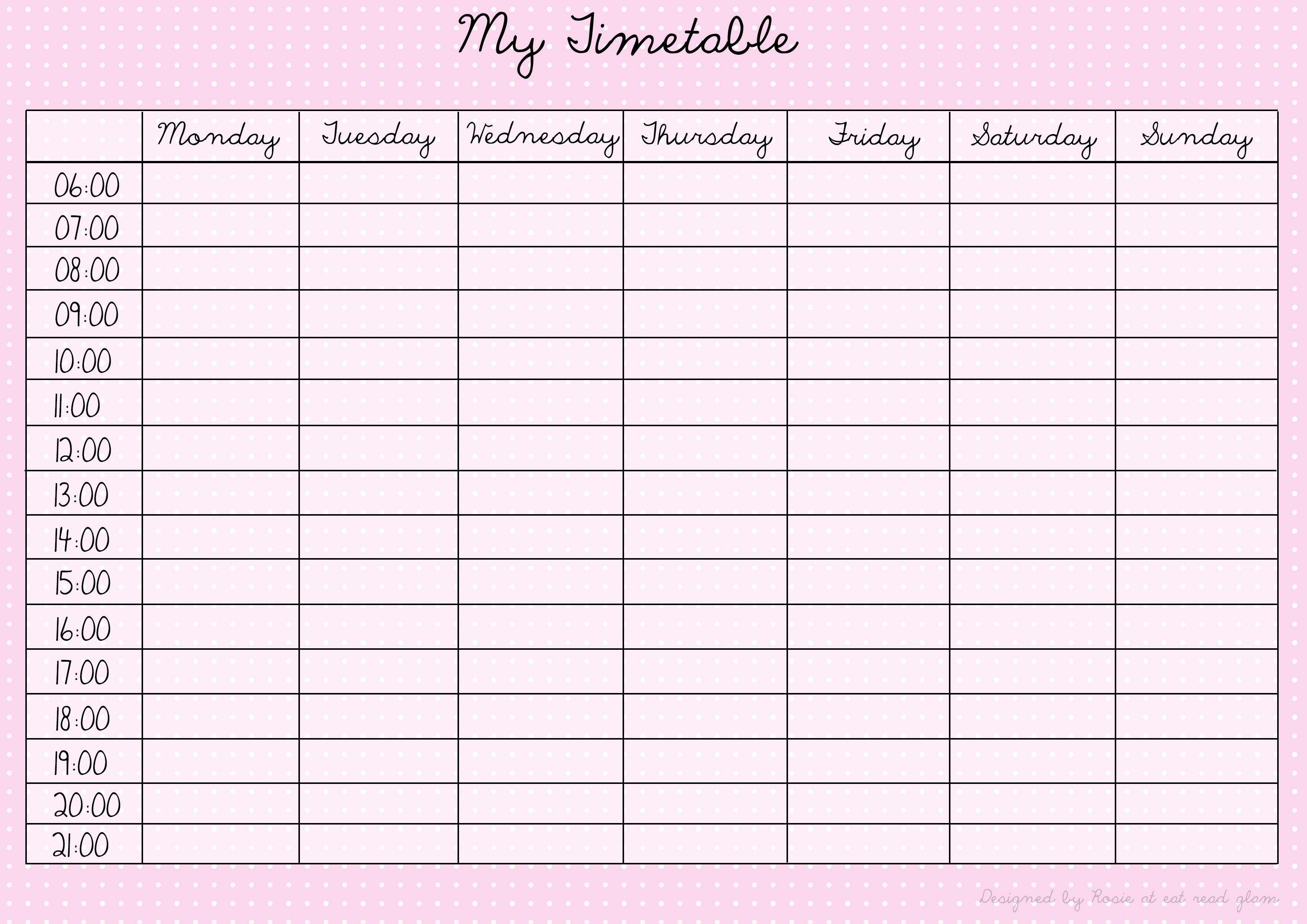 Printable Time Tables