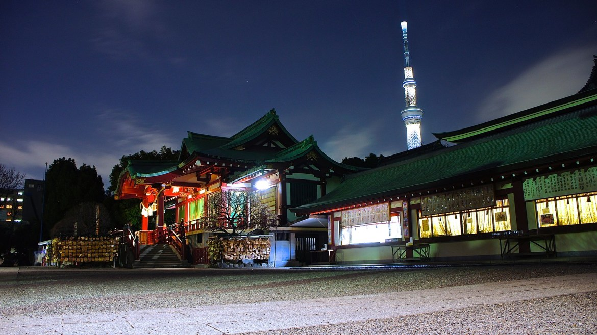Kameido Tenjin Shrine at the night time with the Tokyo Skytree illumination