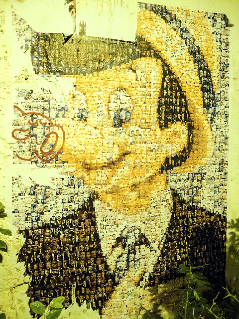 Pinocchio, made from politician portraits  - Wheatpaste