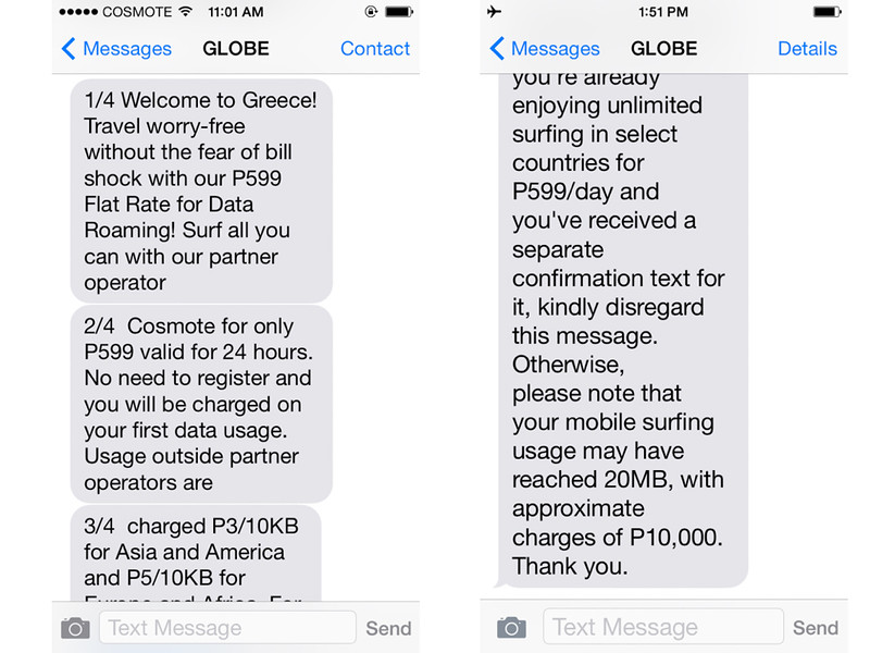 Globe P599 Warning Messages