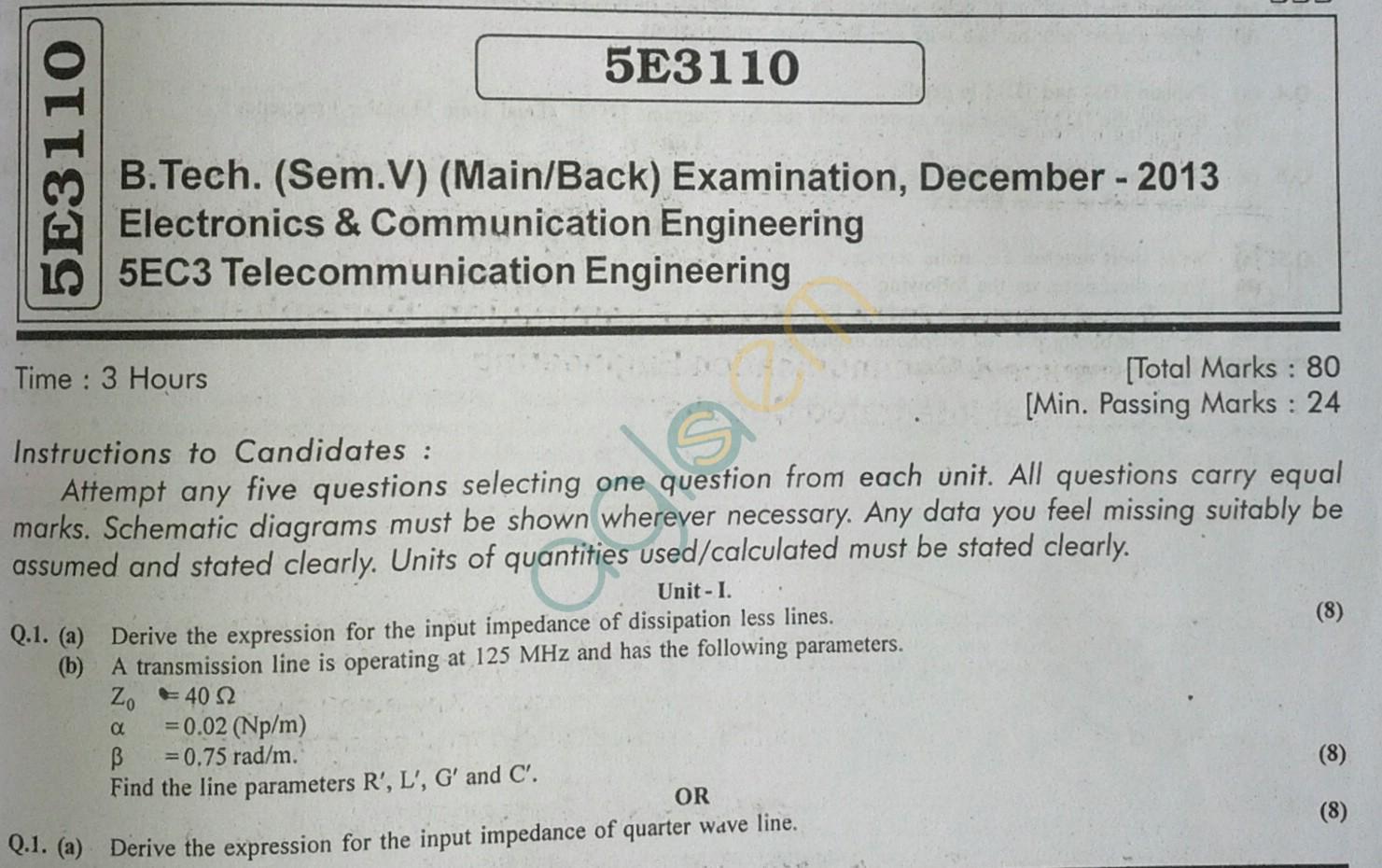 RTU: Question Papers 2013 - 5 Semester - EC - 5E3110