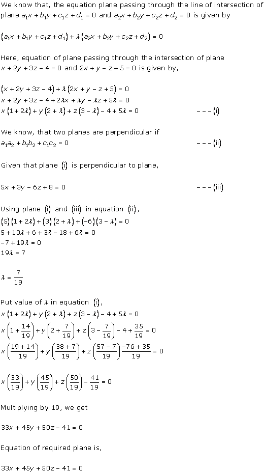 RD Sharma Class 12 Solutions Chapter 29 The Plane 29.7 Q6