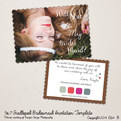 Wedding Invitation Template - Will You Be My Bridesmaid Card Template - Bridesmaid Proposal - Photoshop Template - WM002 - instant download
