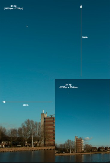 Een foto die 4x zo groot is geworden. Van 21mp naar ruim 85 mp.
