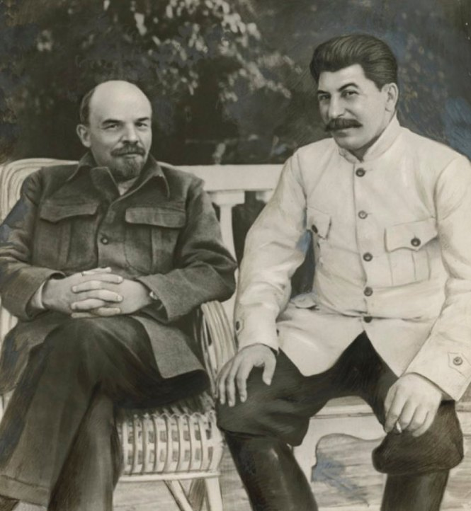 Unidentified Russian artist Lenin and Stalin in Gorki in 1922 1949