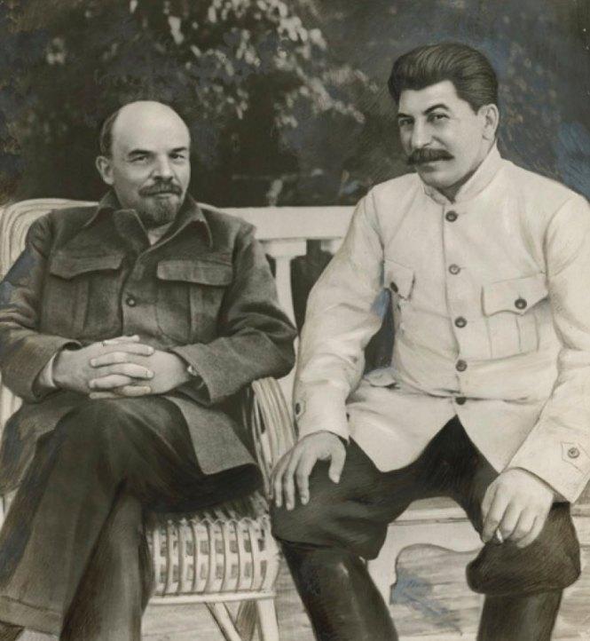 Unidentified Russian artist Lenin and Stalin in Gorki in 1922 1949
