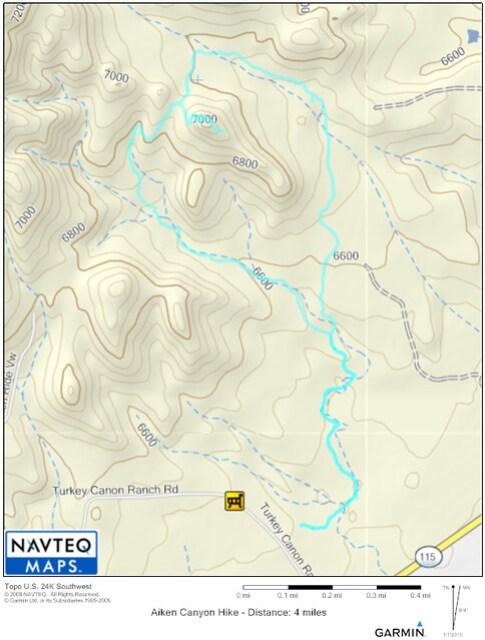 Aiken Canyon Topo Map