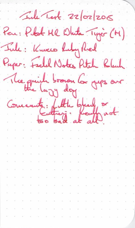 Kaweco Ruby Red Ink Review - Field Notes