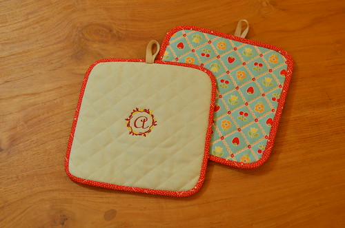 Quilted Pot Holders with Embroidery