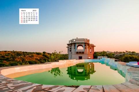 March 2015 desktop wallpaper calender Lakshman Sagar Rajasthan
