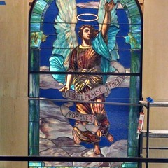 One of the newly installed Tiffany stained glass windows, in its nee home in Buley Library.