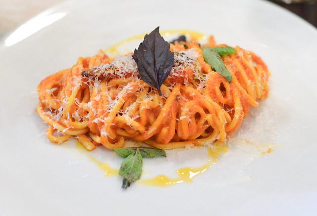 SPAGHETTI ALLA CHITARRA san marzano tomato, garlic, fresno chile