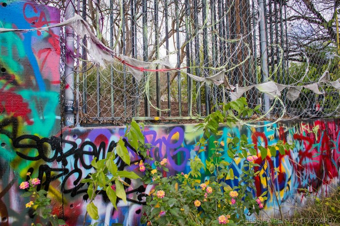Graffiti Art Barbed Wire at Hope Outdoor Gallery Austin Texas