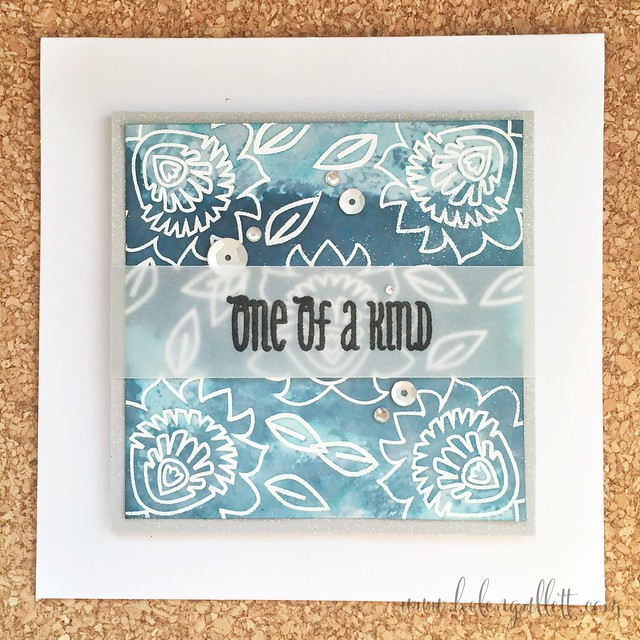 I had fun creating cards with Neat and Tangled new stamp, Paper Cut Flower. Stamped & heat embossed both flower & sentiment (on a piece of vellum), then added watercolor for the background. Finished it with some silver sequins and clear sparkles. Please visit http://helengullett.com/?p=6459 for detail how I made this card.