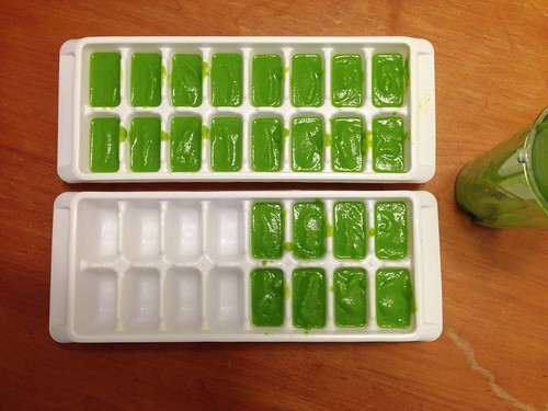 Homemade baby food peas in ice cube trays