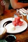 Tea Smoked Watermelon with Kafir Panna Cotta