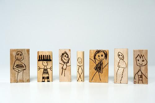 Wood burned kids blocks