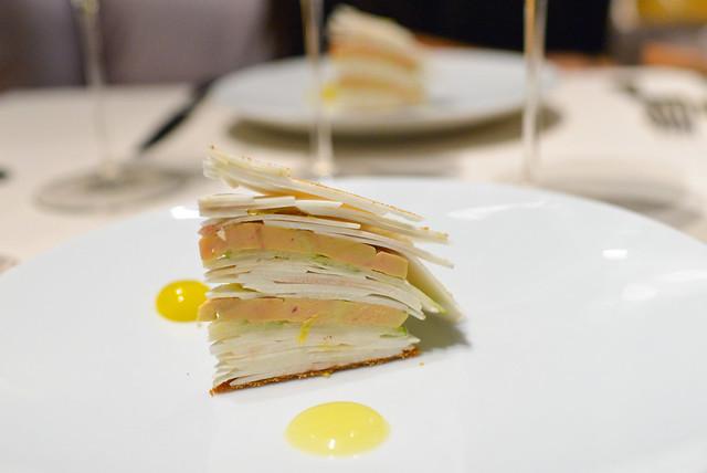 millefeuille with foie gras, apple, lemon