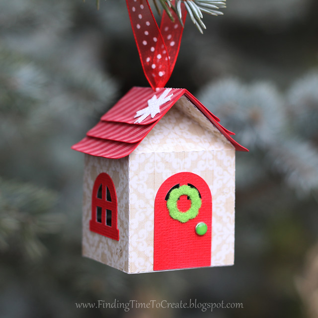 House Ornaments - custom colored trim and flocked wreath