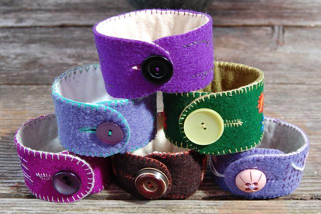 embroidered felt cuffs #9 #8 #3 #2 #5 #6