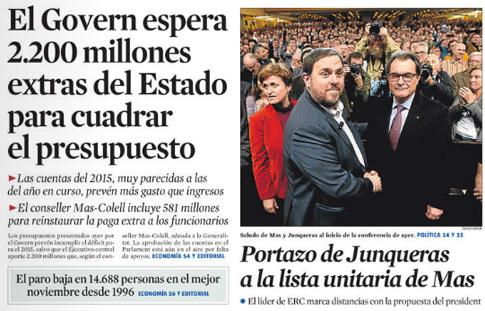 14l03 LV El Govern pide 2200 millones al Estado para gobernar