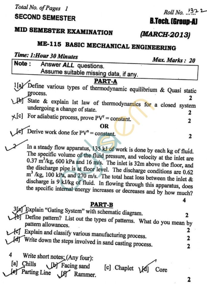 DTU: Question Papers 2013 – 2 Semester - Mid Sem - ME-115