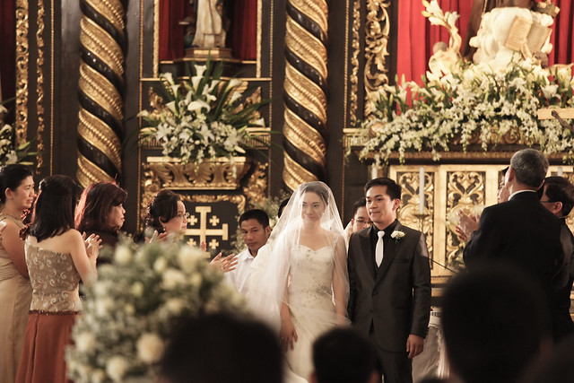 Presenting the newlyweds, Mr. and Mrs. Alaric Caro