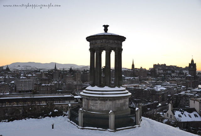 Dugald Stewart Monument view Edinburgh Snow