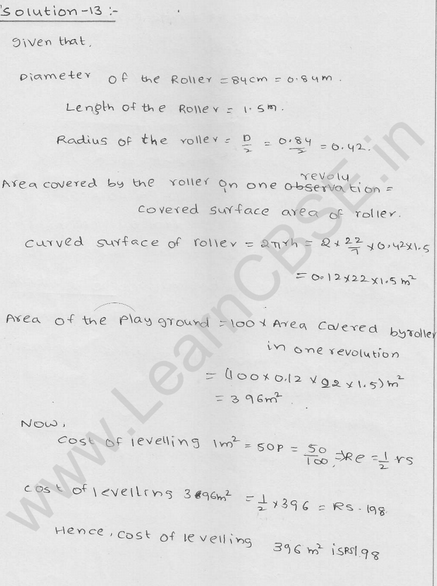 RD Sharma Class 9 solutions Chapter 19 Surface Area and volume of A Right Circular cylinder Ex 19.1 8
