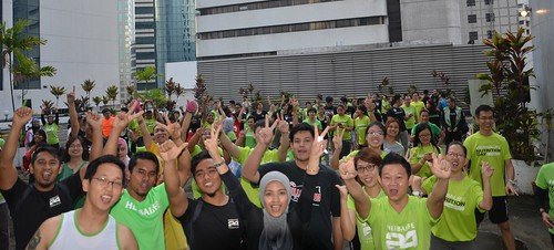 Participants gathered at Plaza See Hoy Chan to participate in the World Record Workout