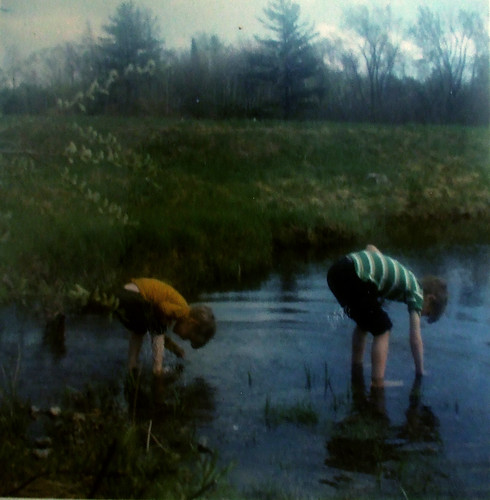 with Steve, exploring pond, 1971