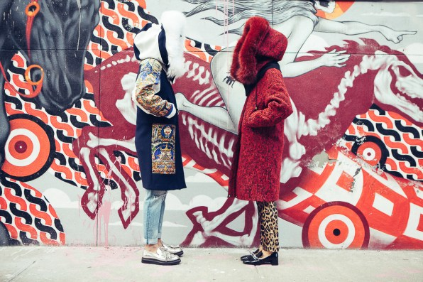 Bryanboy and Natalie Joos in Just Cavalli coats