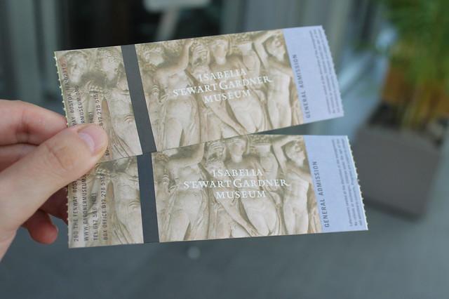 Entradas para el museo de Isabella Stewart Gardner