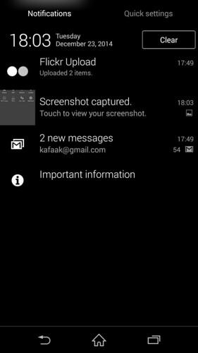 Notifications ของ Sony Xperia Z3