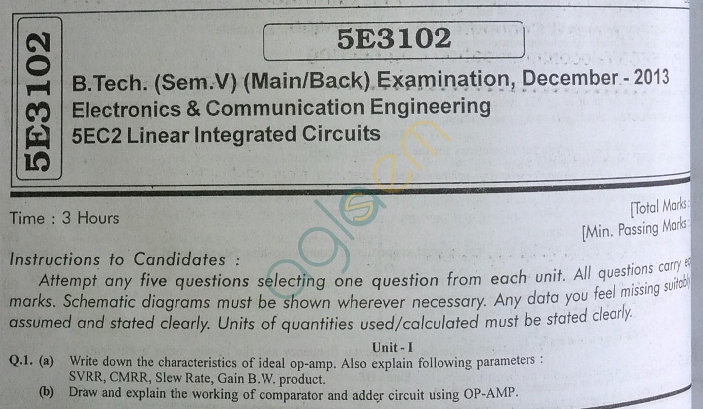 RTU: Question Papers 2013 - 5 Semester - EC - 5E3102