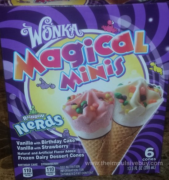 Wonka Magical Minis with Rainbow Nerds Frozen Dairy Dessert Cones